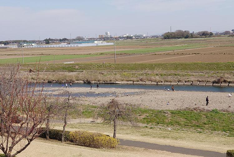 蔓巻公園 公園中央にある築山から見た姿川