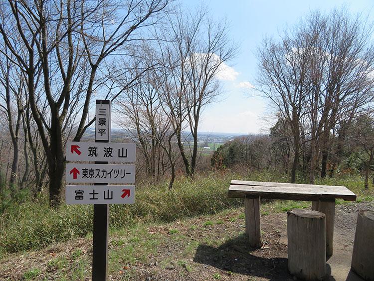 かかしの里 三景平 筑波山 東京スカイツリー 富士山